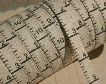 Twill Tape Measure Ribbon Trim ~ 3 yard length ~ Cream or White ~ Printed on both sides ~ Great for sewing and craft projects.