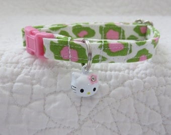 Leopard Hot Pink Green with  bell Breakaway Collar Custom Made