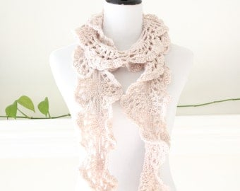 Crocheted Long Linen Color Scarf