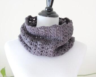 Crochet Circle Charcoal Gray Neckwarmer/Cowl