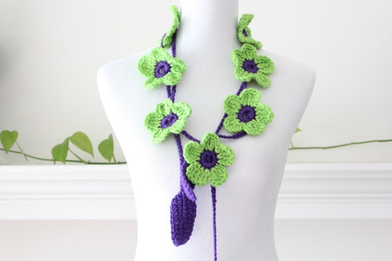 Crochet Light Green and Purple Flower Lariat, Necklace, Scarf, Scarflette