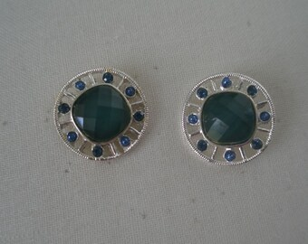 Vintage Silver Plated Green Cabochon and Green Rhinestones Post Button Earrings
