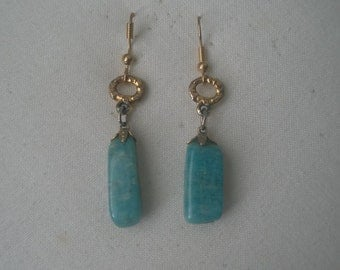 Vintage Green Blue Agate and Gold Tone Dangle Earrings