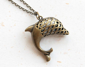 Dolphin Necklace  (N367) in vintage brass color