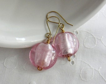 Chunky Earrings, Pink Earrings Glass Earrings, Beaded Earrings,  Pink, Sterling Silver, Womens Fashion Jewelry, Handmade