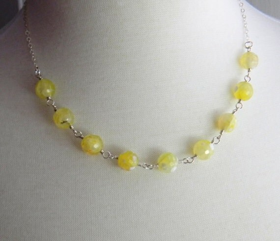 yellow gemstone necklace pale yellow wire by julieellisdesigns