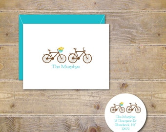 Wedding Thank You Cards, Bicycle Wedding, Flowers, Bikes, Bridal Shower, Thank You Cards, His And Her Bikes, Bicycles, Affordable Wedding
