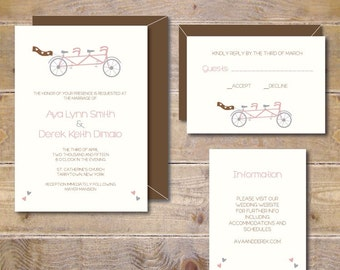 Printable Bicycle Wedding Invitation, DIY Wedding Invitation, Digital File, Print At Home, PDF, Bike Wedding Invitations - Tandem Bike