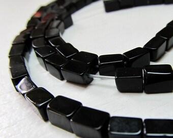 Onyx Beads 6 X 4mm Jet Black Smooth Shiny Rectangle Cubes - 7 inch Strand