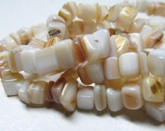 Shell Pearl Beads 5 x 3mm Lustrous Smooth Natural Multi Mix Square Chips - 8 inch Strand