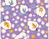 White, Yellow and Teal Floral & Leaf Design on Purple 1930's Reproduction Fabric, Fresh Water Designs Kimberly's Garden FWDKIG02-LIL