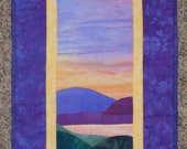 Quilted Wall Hanging, Landscape Pond Scene in Purples, Yellows and Blues, Beach quilt, Lake Scene Quilt at Sunset