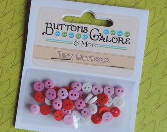Pink Red White Mini Buttons Sweetheart Set Buttons Galore Package #1357