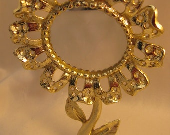 Vintage Torino Daisy Mirror Goldtone Earring Tree
