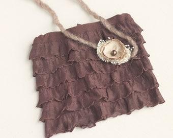 Mia. Brown Ruffle Skirt. Newborn. Tieback. Organic. Photography Prop. Baby Girl. Tolola Designs.