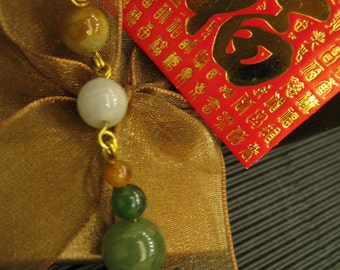 Beautiful Fall Themed Natural Jade Pendant ... Gold Brass filled wire Jewelry