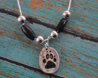 White Wolf Track Paw Print Hand Inked Deer Antler Necklace