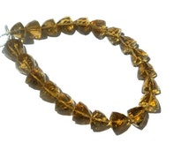 Beer Quartz Faceted Trillion Semi Precious Gemstone Beads (AAA) / 21 pieces / Product Code 49