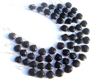Black Onyx Faceted Heart Semi Precious Gemstone Beads (Quality AAA) / 14 Pieces / CODE 367