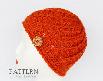 PDF Crochet Hat Pattern - Twirl Beanie Hat - Instant download