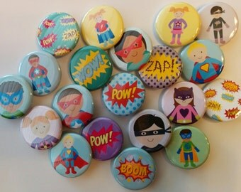 cute super hero set of 20 buttons pin flat back, hollowback or magnets