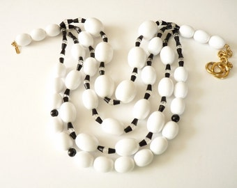 Vintage Monet Statement Necklace Black and White Beads 16 Inches