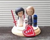 Winter Sports Custom WEDDING CAKE TOPPER With Pet and Stand Snowboarding Skiing Winter Wedding Cake Topper Kokeshi Dolls Wooden Peg dolls