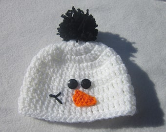 Snowman Baby Cap, White with Pom Pom Hat, Snowman Hat MADE TO ORDER by Crocheted by Charlene