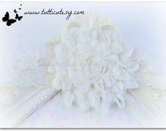 White Flower and Lace headband
