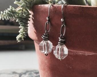 Rustic Ice cubes - Vintage crystal - sterling silver earrings
