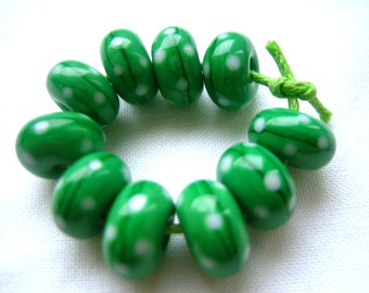 Bright Green Polka Dot Lampwork Beads, FHFteam, SRA, UK Seller