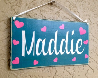 Girl's Name 10x6 (Choose Color) Rustic Shabby Chic Wood Room Door Sign