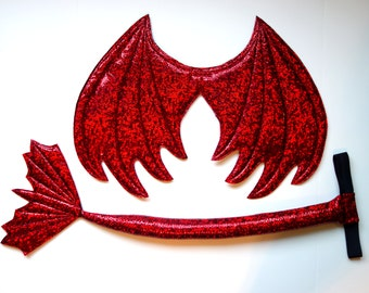 Red Dragon Wings and Tail SET, Red Metallic, red dragon, dragon tail, wire free wings, kids dress up wings, cosplay dragon, Smaug