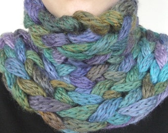 Chunky cowl in soft shades of teal, purple, and olive