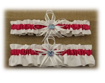 White and Fuchsia Wedding Garter Set with Blue Heart Charms