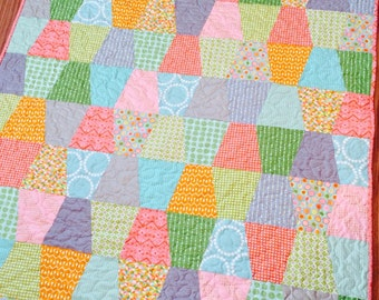 Quilt Baby or Lap Size -- pink, aqua, coral, green, orange, blue, grey -- minky