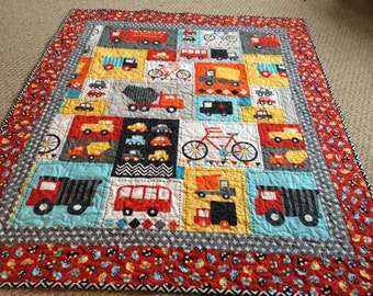 Baby Boy Quilt -- cars, trucks, bicycles-- Ready, Set, Go - red, blue, aqua, grey, yellow, white, black