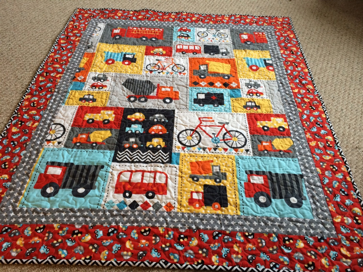 Baby boy quilt cars trucks bicycles ready set go for Boy quilt fabric