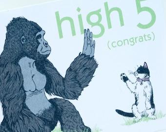 SALE - High Five Congrats greeting card - Gorilla vs. Kitten - 50% off