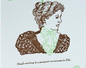 SALE -Letterpress Victorian Advice card - Good Correspondent - 60% off