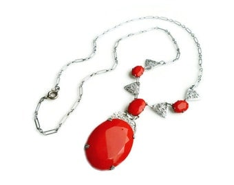 Art Deco Red Czech Silver Filigree Glass Necklace - Red Glass, Silver Rhodium, Filigree Metal, Paper Clip Chain, Antique Jewelry