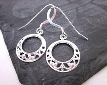 Small Go Go Earrings -- Silver Filigree Hoops -- Small Silver Earrings -- Silver Hoop Earrings