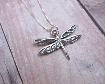 Tiny Charm Necklace -- Silver Dragonfly Necklace -- Dragonfly Charm Necklace -- Silver Insect Necklace -- Sterling Dragonfly Necklace -- Fly