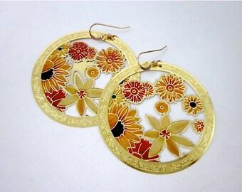 Yellow & Orange Earrings -- Filigree Flower Earrings -- Unique Hoop Earrings -- Yellow and Gold Flower Earrings -- Flower Hoops --Gold Hoops