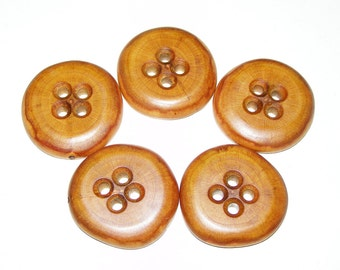 "5 Handmade  plum  wood buttons, accessories (1,5"" diameter x 0,28"" thick)"