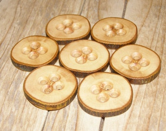 "7 Handmade apple wood Tree Branch Buttons with Bark, accessories (1,30'' diameter x 0,24"" thick)"