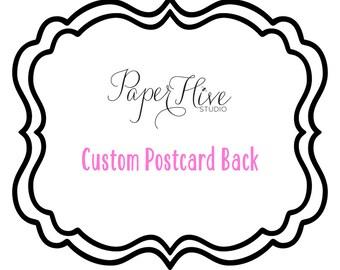 Custom Save the Date Postcard back /  add-on back for postcard / digital file