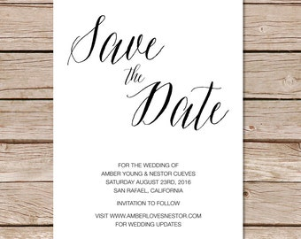 modern save the date cards / calligraphy save the date cards / printable save the date cards