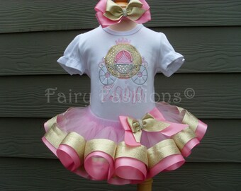 Custom tutu..RIBBON trimmed deluxe tutu set..PRINCESS CARRIAGE tutu set, cinderella, birthday, 3 month-3T,costume, first birthday, appliqued