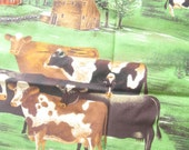 Pastoral Cows Novelty Cotton Fabric Yard